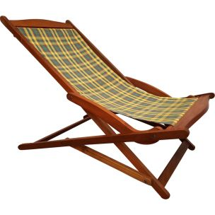 Vintage danish sunbed in teakwood and fabric 1960s