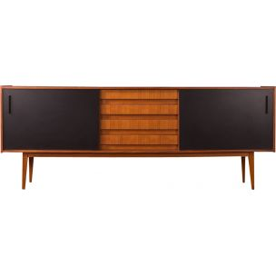 Vintage sideboard in walnut and black formica 1960s