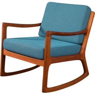 Vintage Senator rocking chair for Cado in blue polyester and teak 1960s