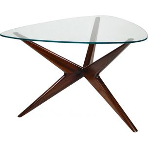 Vintage italian triangular coffee table in mahogany and glass 1950