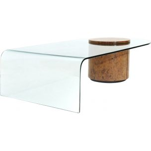 Vintage coffee table for Fratelli Longhi in wood and glass coffee table with bar 1990s