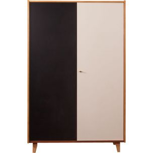 Vintage wardrobe in walnut and formica 1950s