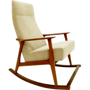 Danish vintage rocking chair in teak and fabric 1960