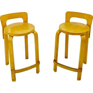 Pair of vintage K65 stools by Arteke in birch plywood 1960