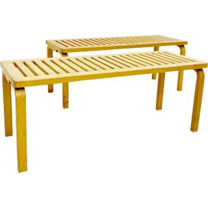 Pair of vintage 153 benches for Artek in birch 1940