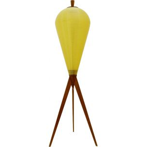 Vintage yellow tripod rocket lamp in wood 1950