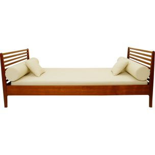Vintage bed in white fabric and wood 1960