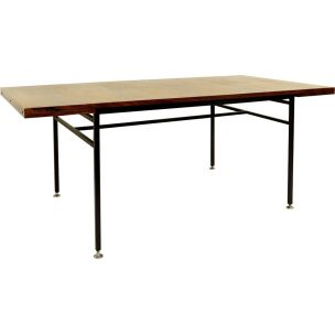 Vintage 802 table for Meuble TV wood and steel 1950