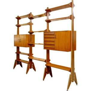 Vintage italian bookcase in wood 1960