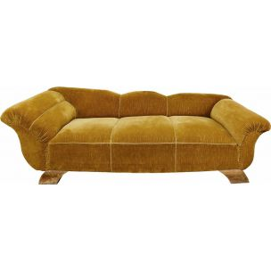Vintage sofa golden velvet France 1950