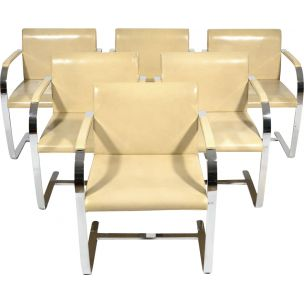 Set of 6 vintage chairs for Tugendhat in beige leather 1930