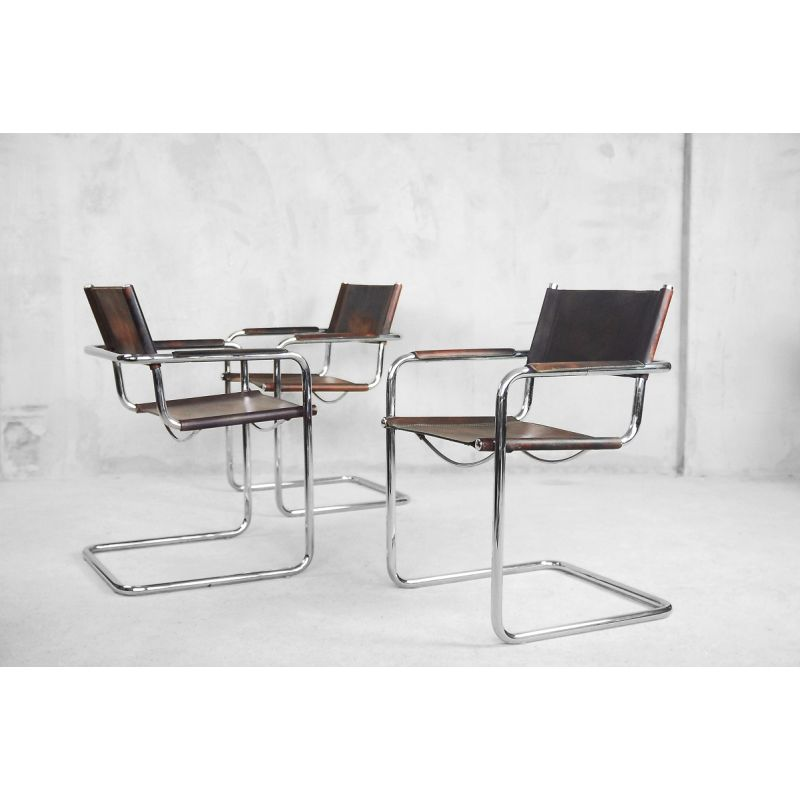 Matteo Grassi Design.Set Of 4 Vintage Chairs Italian Bauhaus Tubular Steel And Patinated Leather Mg5 By Matteo Grassi 1960s