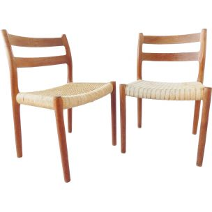 Pair of vintage chairs by Niels Möller model 84 Denmark