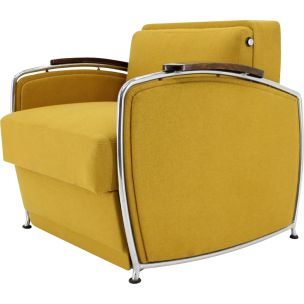 Vintage armchair extendable yellow Czechoslovakia 1950s