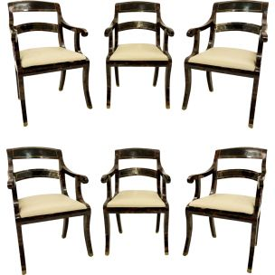 Set of 6 vintage armchairs maitland-smith USA 1980s