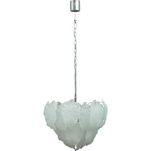 Vintage chandelier Murano frosted glass Italy 1970s