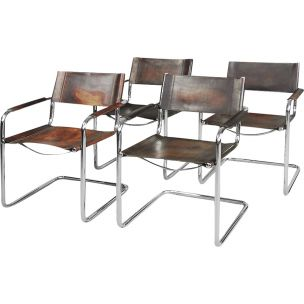 Set of 4 vintage chairs Italian Bauhaus tubular steel and patinated leather MG5 by Matteo Grassi, 1960s