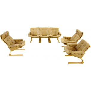 Vintage living room set Kengu brown leather by Solheim for Rykken, Norway
