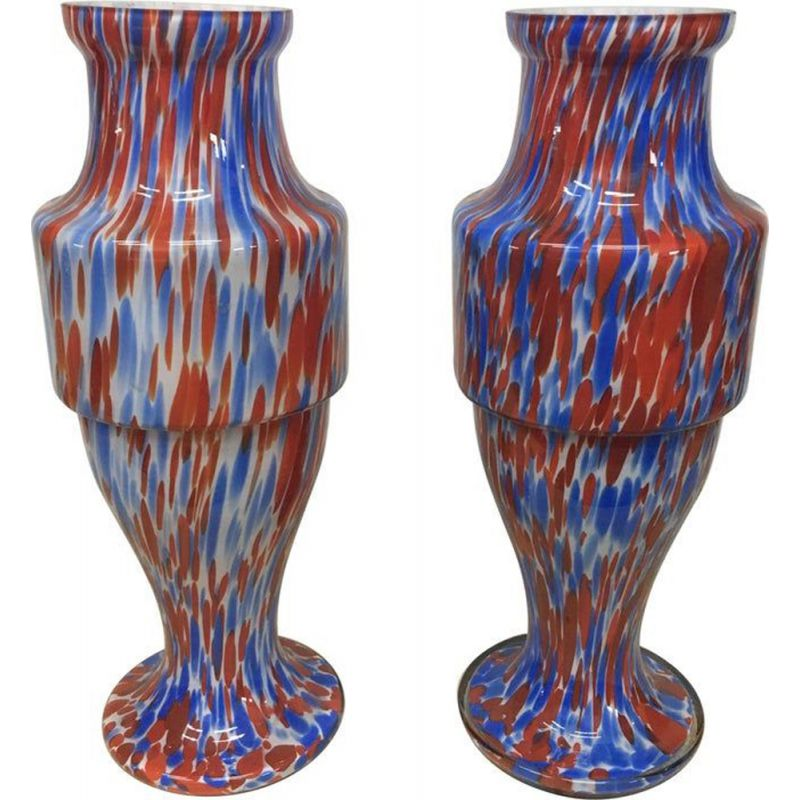 Set of 2 vintage vases red and blue opaline Murano 1970s