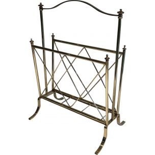 Vintage Neoclassical brass magazine rack, 1940