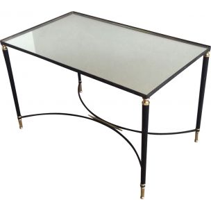 Vintage coffee table in brass and lacquered metal,1950