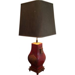 French vintage red and gold lacquered lamp 1960