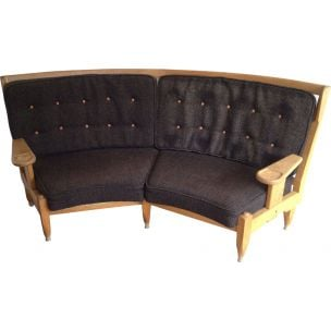 French vintage sofa in wool and wood 1960