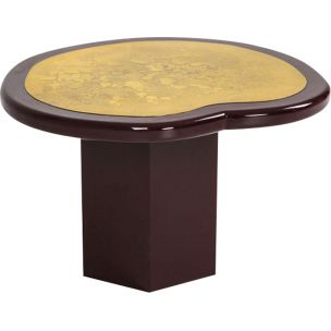 Vintage burgundy lacquered side table in brass 1970