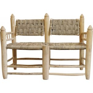 Moroccan vintage bench in wood and rope