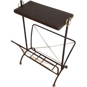 Vintage black metal and brass magazine rack 1950