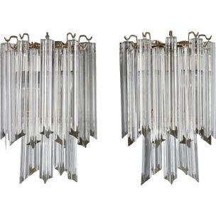 Pair of vintage sconces for Venini in Murano glass 1960