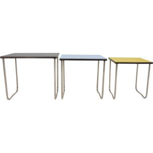 Vintage french nesting tables in melaminate and metal 1950