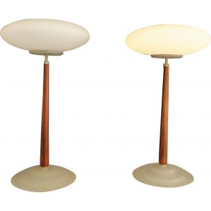 Vintage Pao lamp for Arteluce in glass and cherrywood 1990