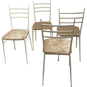 Set of 4 vintage white italian chairs by Gio Ponti in iron and brass