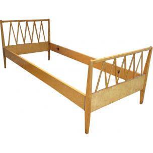 Vintage bed in light wood France 1940s