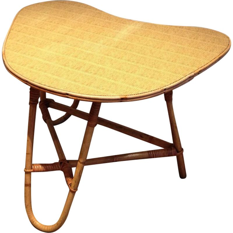 Small Vintage Coffee Table In Rattan 1970s