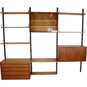 Vintage wall unit in teak Royal System by Poul Cadovius for Cado, 1960s