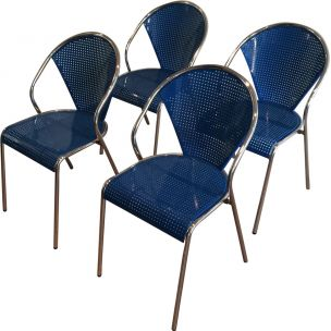 Set of 4 vintage chairs in chrome with perforated blue metal 1980s