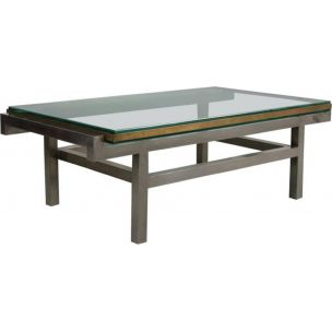 French vintage coffee table in steel and brass 1960