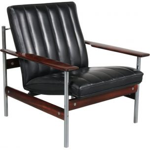 Vintage 1001 AF armchair for Dokka Möbler in black leather and rosewood 1950s