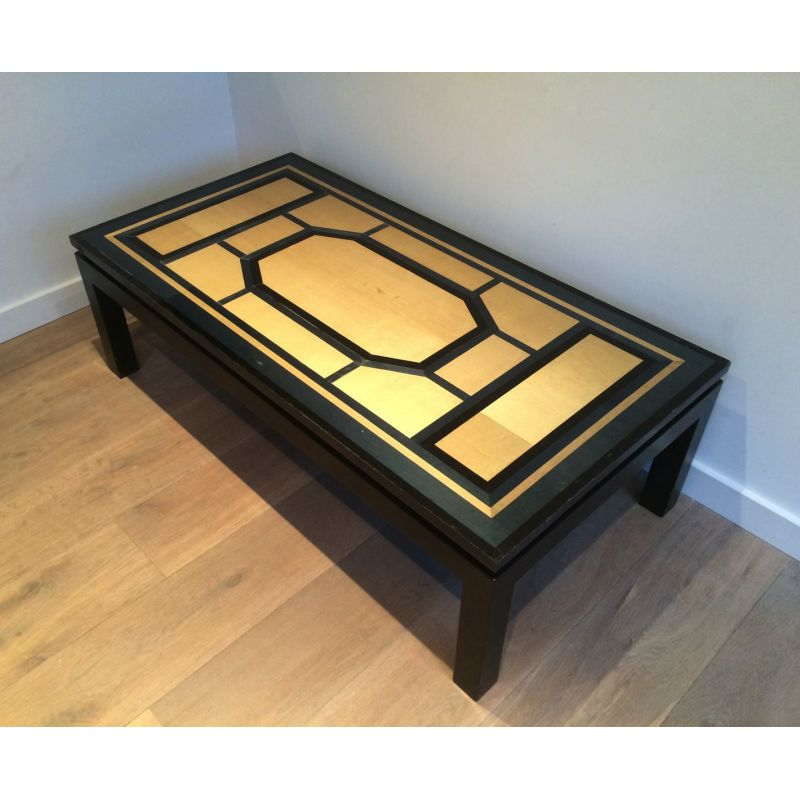 French Vintage Black Coffee Table In Wood 1960