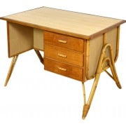 Vintage desk in rattan, wood and formica - 1950s