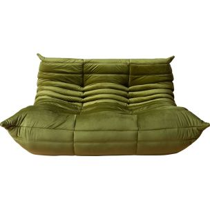 Vintage 2-seater sofa Togo in Green Velvet by Michel Ducaroy for Ligne Roset,1970