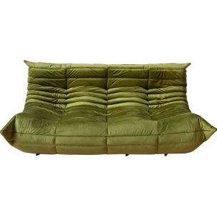 Vintage 3-seater sofa Togo in Green Velvet by Michel Ducaroy for Ligne Roset,1970