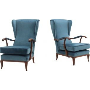 Pair of vintage azure velvet armchairs by Paolo Buffa,1940