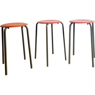 Set of 3 vintage stools in wood and metal 1950