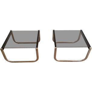 Pair of vintage side tables in blackened wood chrome and glass