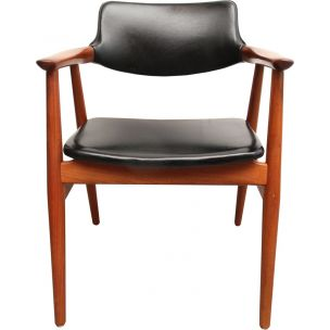 Vintage armchair for Glostrup in black leatherette and teakwood 1960s