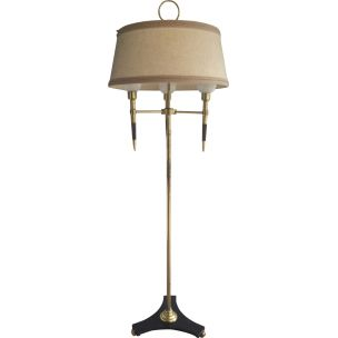 Vintage french wooden and brass floorlamp 1970