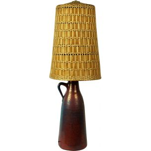 Vintage scandinavian lamp in ceramic and wicker 1960